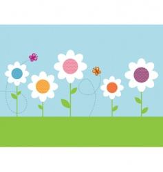 Polka dot daisies vector