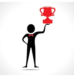 Man holding a trophy vector