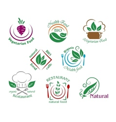 Assorted restaurant and vegetarian food symbols or vector