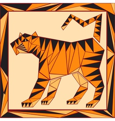 Chinese horoscope stylized stained glass tiger vector