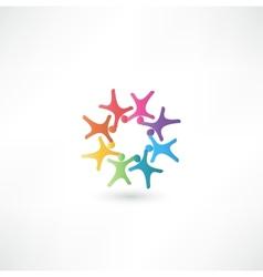 Team symbol multicolored people vector