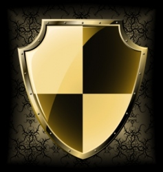 Gold shield over seamless background vector
