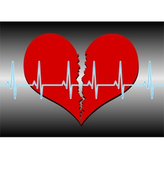 Broken heart cardiogram blue vector