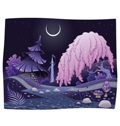 Fantasy nightly landscape on the riverside vector