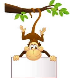 Monkey with blank sign vector