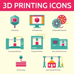 3d printing icons in flat design style vector