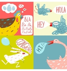 Colorful fun cartoon domestic animals greeting vector