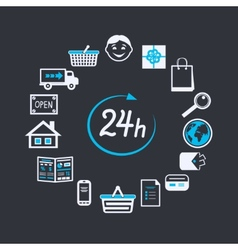 Internet website store open 24 hours vector