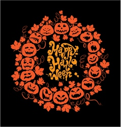 Halloween card - orange silhouette of pumpkins vector