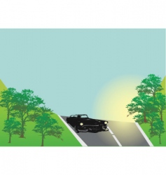 Classic car on the road vector