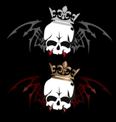 Skull wings with crown tattoo design on white bac vector