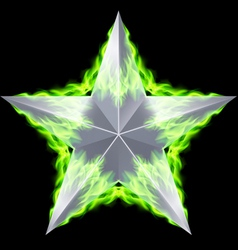 Silver star aflame vector