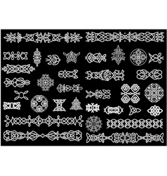 Celtic knot patterns ornaments and borders vector