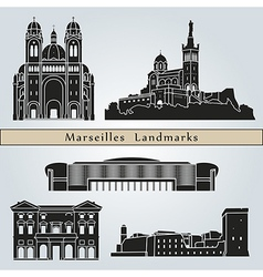Marseilles landmarks and monuments vector