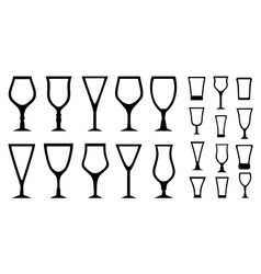 Set isolated alcohol glass icons vector