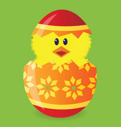 Easter egg with chick vector
