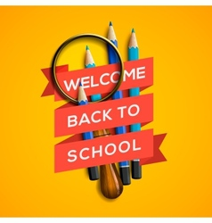 Welcome back to school on yellow background vector