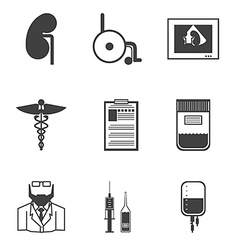 Black icons for nephrology vector