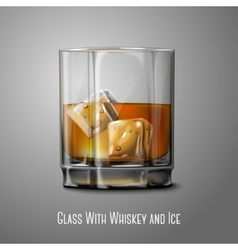 Realistic glass with smokey scotch whiskey and ice vector