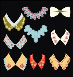 Vintage style collars on black background vector