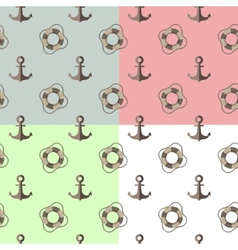 Sea seamless pattern with anchors and lifebuoys vector