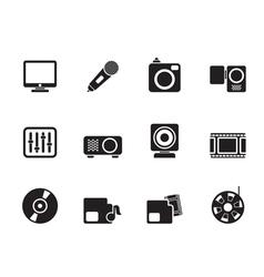 Silhouette media equipment icons vector
