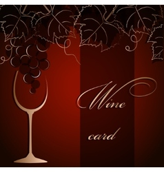 Template of alcohol card with grapes and a glass vector