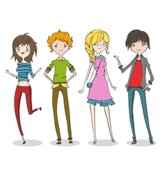 Group of four cartoon young people vector