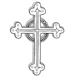 Doodle catholic cross vector