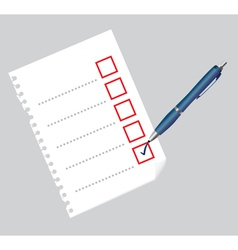 Checklist on paper sheet and pen vector