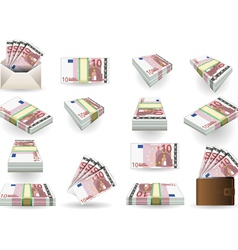 Full set of ten euros banknotes vector