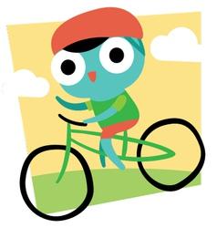 Cute cartoon cyclist vector
