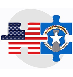 Usa and northern mariana islands flags in puzzle vector