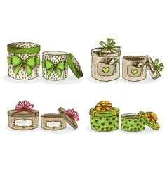 Open and closed hat boxes with decor vector