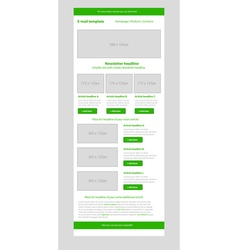 Newsletter green template with business style vector