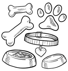 Doodle pet dog tag bone paw print biscuit vector
