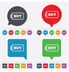 Buy sign icon online buying pound button vector