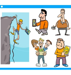 People and technology cartoon set vector