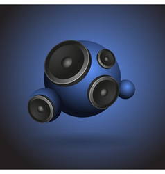 Abstract blue music background with round speakers vector