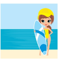 Pretty girl with a surfboard vector