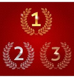 1st 2nd 3rd awards golden emblems vector