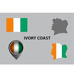 Map of ivory coast and symbol vector