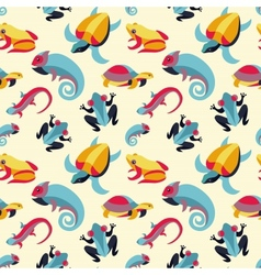 Seamless pattern with frogs and reptiles vector