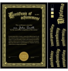 Black and gold certificate template vertical vector
