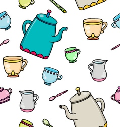 Pattern with tea supplies vector