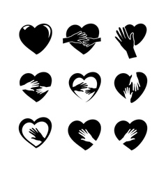 Hands with heart icon set vector