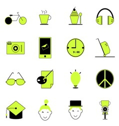 Teenage icons of green and black color vector