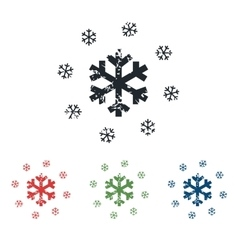 Snowflakes grunge icon set vector