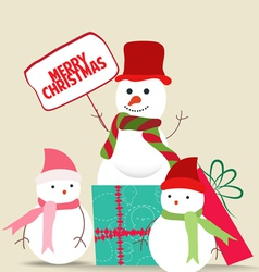 Snowman family christmas card vector