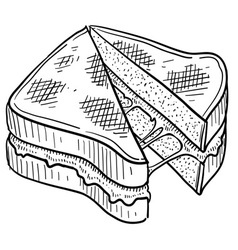 Doodle food grilled cheese vector
